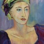 Jeune femme au foulard vert - Huile